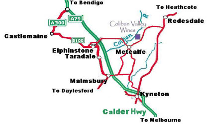 Map of how to get to the Coliban Valley Wines Vineyard